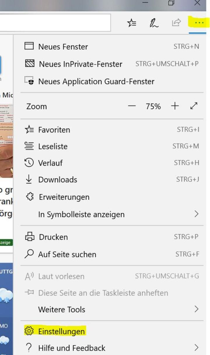 """Im """"Edge""""-Browser ebenfalls zunächst rechts oben die Browser-Einstellungen auswählen."""