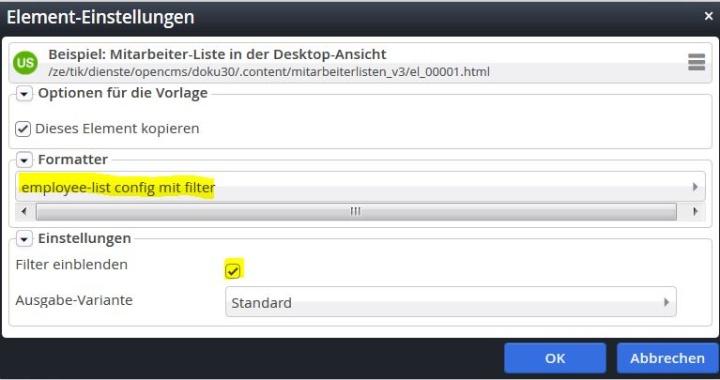Die Darstellung der Mitarbeiterliste mit Filter ist bei langen Listen sinnvoll. (c)