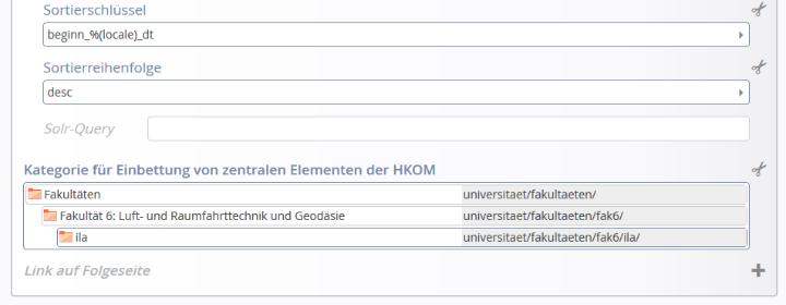 """Das vorletzte Datenfeld im Newsstream ist die """"Kategorie für Einbettung von zentralen Elementen der HKOM"""": Hier tragen Sie eine Kategorie ein, mit der Sie gewünschte Artikel aus den zentralen Webseiten einspielen können."""