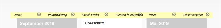 Eine gelbe Leiste steht in der Offline-Version direkt über dem News-Stream und listet die gängigen Kommunikationselemente auf.