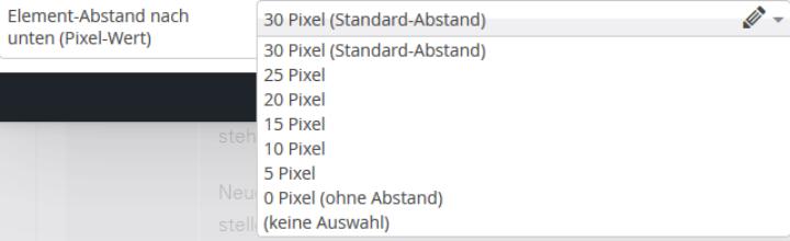 Eine Auswahl von 0 bis 30 Pixeln in Fünferschritten steht als Abstand nach unten zur Verfügung. (c)