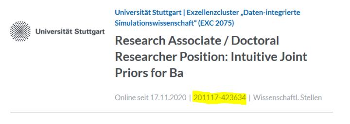 Die Job-ID steht bei der Stellenwerk-Anzeige direkt unterhalb des Titels in der Mitte zwischen Onlinestellungs-Datum und Stellenkategorie.