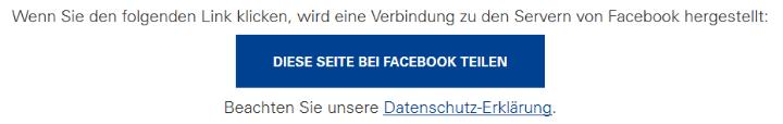 Screenshot mit dem Warnhinweis: Wenn Sie den folgenden Link klicken, wird eine Verbindung zu den Servern von Twitter hergestellt: - dann der Link - Beachten Sie unsere Datenschutz-Erklärung. (c)